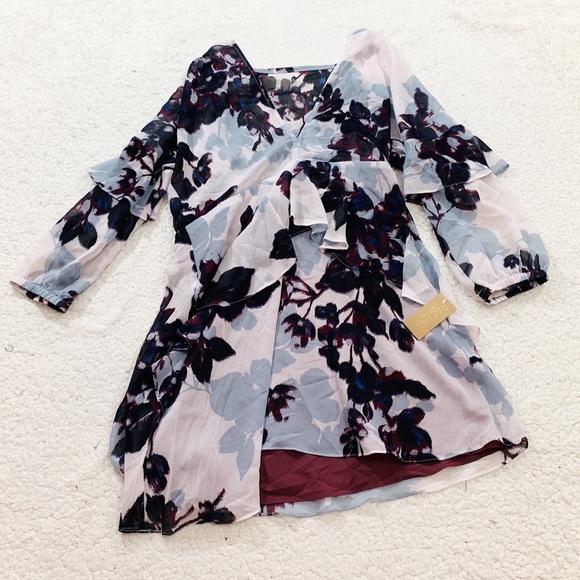 RACHEL Rachel Roy Dresses & Skirts - Rachel Roy women's floral ruffle vneck dress C